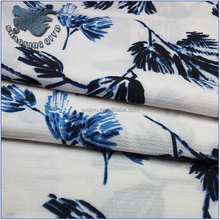 100% polyester blue flower printed chiffon fabric