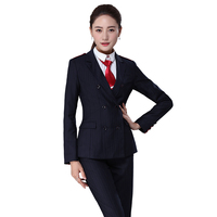 Juqian Custom hign end polyester/viscose navy stripe classic formal business office work wear womens 3 piece pant suit