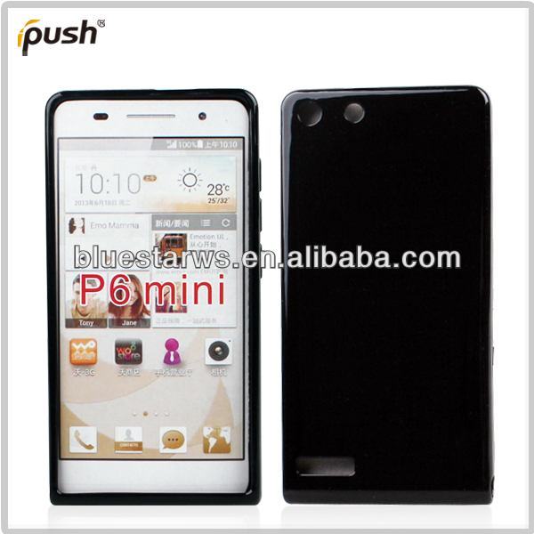 TPU Soft Cover Frosted Black Crystal Gel Skin Case For Huawei Ascend P6 mini