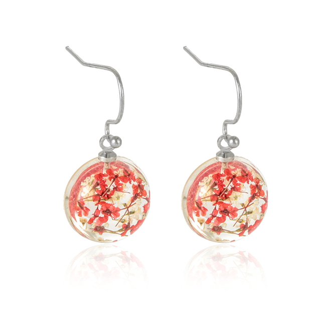High quality cheap colorful flower style female ball shape transparent wedding earrings