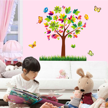 Self adhesive 3d butterfly tree wall stickers home decor