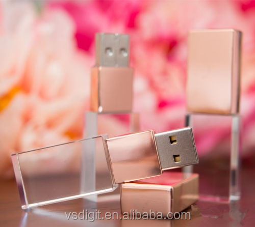 Custom 3D Logo Rose gold crystal driver 32GB 64GB with led light flash memory usb