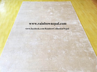 Nepal Hand Knotted High Quality 100% Pure Silk Natural Beige Carpets Rugs