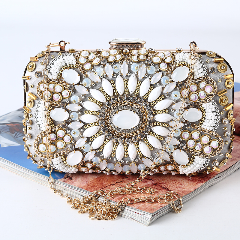 Factory-dircet vintage beaded evening bag with satin and rhinestone brand new clutches