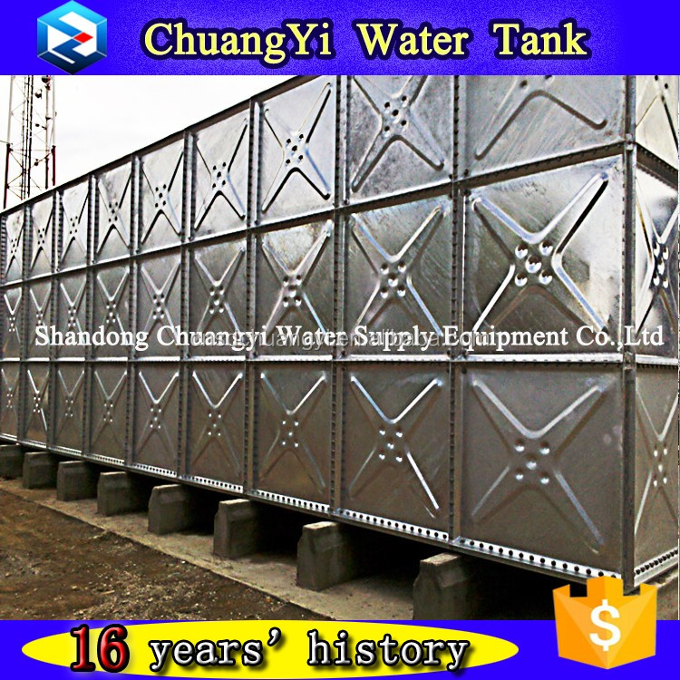 elevated galvanized water tank/supporting tower water tank in high space