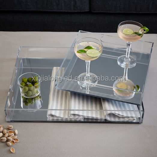 Perspex Cocktail Serving Tray Clear Rectangular Lucite Trays Silver Mirror Acrylic Juice Cup Serving Tray