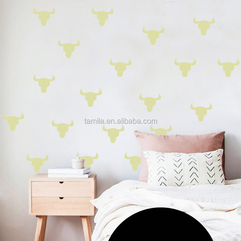 Custom glow in the dark bull head wall stickers sheet /green light luminous sticker