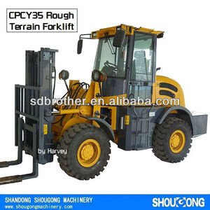 4WD Rough Terrain Forklift CPCY35 4x4 All Terrain Forklift with CE