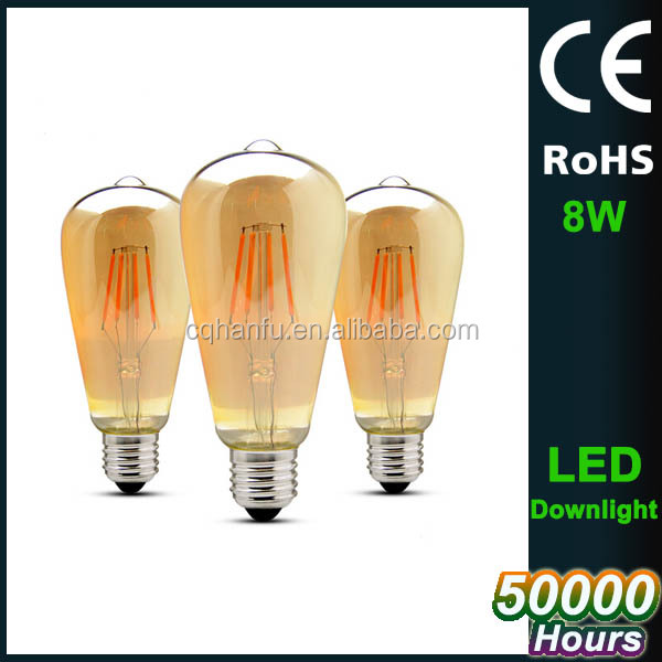 Cheap price 4w 6w 8w glass body led filament bulb edison