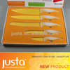 Soft touch yellow handle inox cutlery knifes set