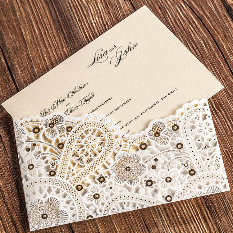 Wholesale custom promotional simple design wedding invitation paper card printing