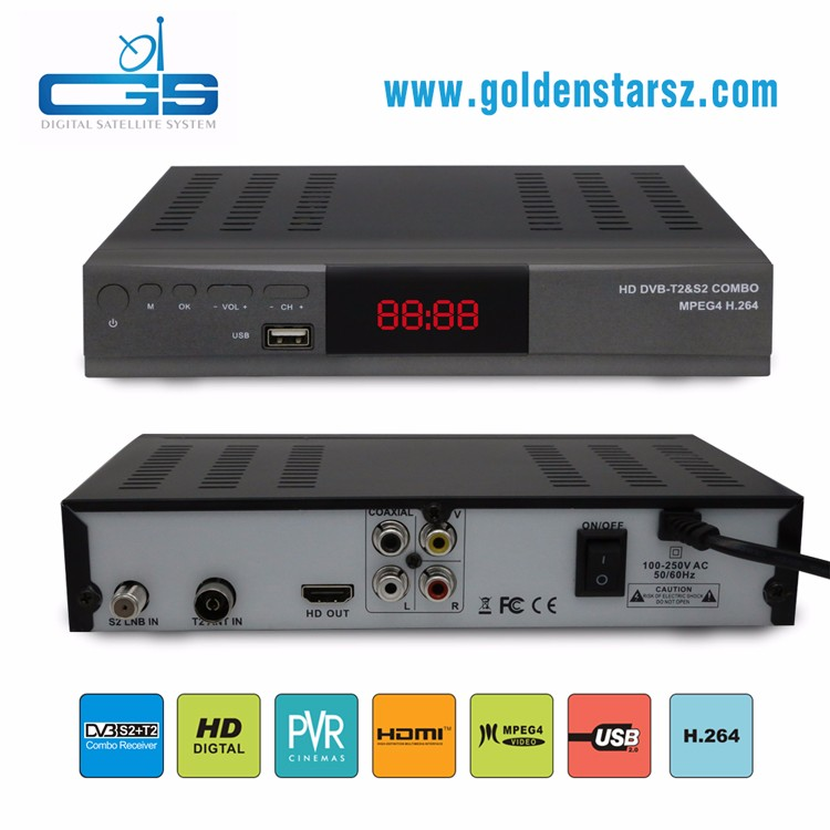 Good price shenzhen set top box hd combo dvb-s2 dvb-t2 satellite receiver dvb s2 t2 support MPEG4 watch yutube by USB Wifi
