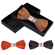Fashion Women Men Accessories Wood Bow Tie 3D Handmade Butterfly Bow Ties Classic Wooden Bow Tie Mens Wedding Party Necktie Wood