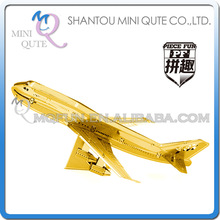 Piece Fun 3D Metal Puzzle Golden Boeing 747 jet aircraft Adult assemble DIY model educational toys NO GLUE NEEDED NO.PF 9105