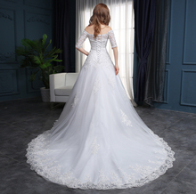 Custom Made Off Shoulder Design Wedding Gowns With Half Sleeve White Bridal Dress