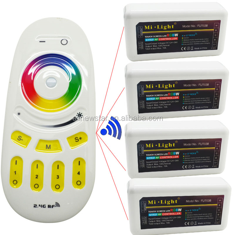 Mi light 2.4g RGBW controller 12-24V 24A wifi RGBW White/Warm white led strip Controller, mi light 4 zone RF touch Remote