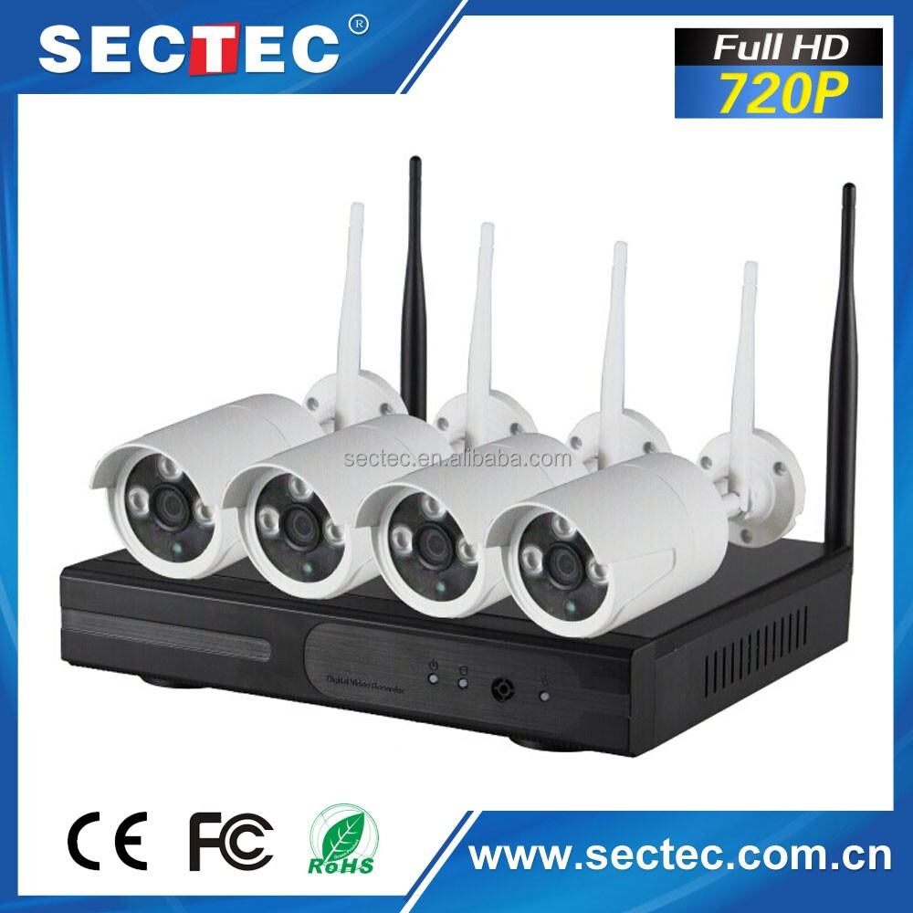 SECTEC 4CH 720P Wireless RoHS Security Camera Kit Wifi NVR Complete Kits