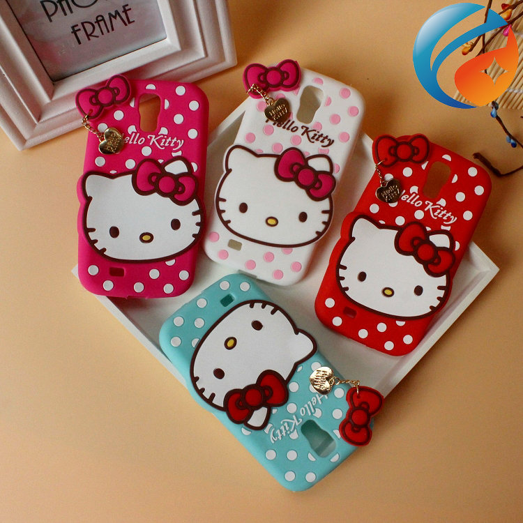 Free shipping Silicone Animal Cover Cartoon Bowknot Dots Hello Kitty Case for Samsung Galaxy s4 i9500
