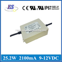 25.2W 12V 2100mA AC-DC Constant Current/ Voltage Waterproof LED Driver Switch Power Supply with CE UL CUL IP67