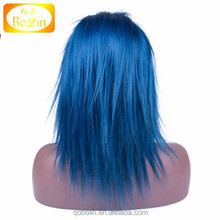 2016 popular color blue color straight lace front wig