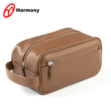 Hot selling customized black leather hanging toiletry bag