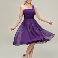 Traditional Plus Size Chiffon Purple One Shoulder Knee Length Bridesmaid Dress Patterns