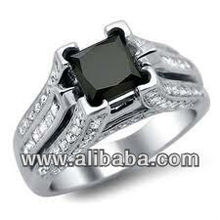 2.75Ct Black Princess solitaire 925 sterling silver engagement ring-free ship