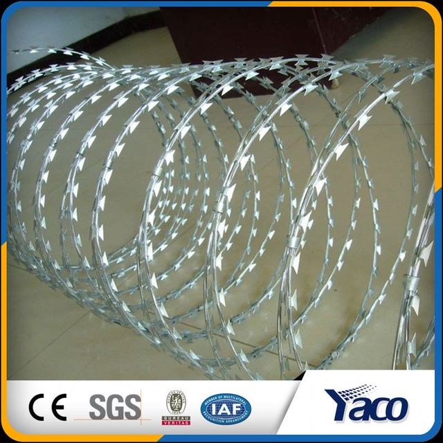 cheap hot dipped galvanized plastic pvc coated razor barbed wire for safety