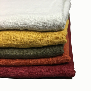 Plain dyed wholesale linen cotton fabric for Dress, T-shirt and blanket