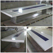 Marble stone top with stainless steel base aluminum conference table