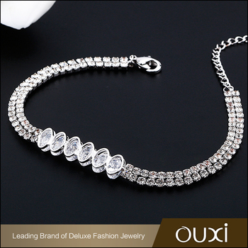 18K Rhodium plated cooper alloy brass jewelry double row fake diamond cz tennis bracelet