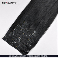 wholesale virgin human brazilian clip in hair extensions for black women