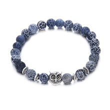 High Quality Natural Stone Accessories Wholesale Men Women Yoga Jewelry Owl Charms Custom Bead Bracelet