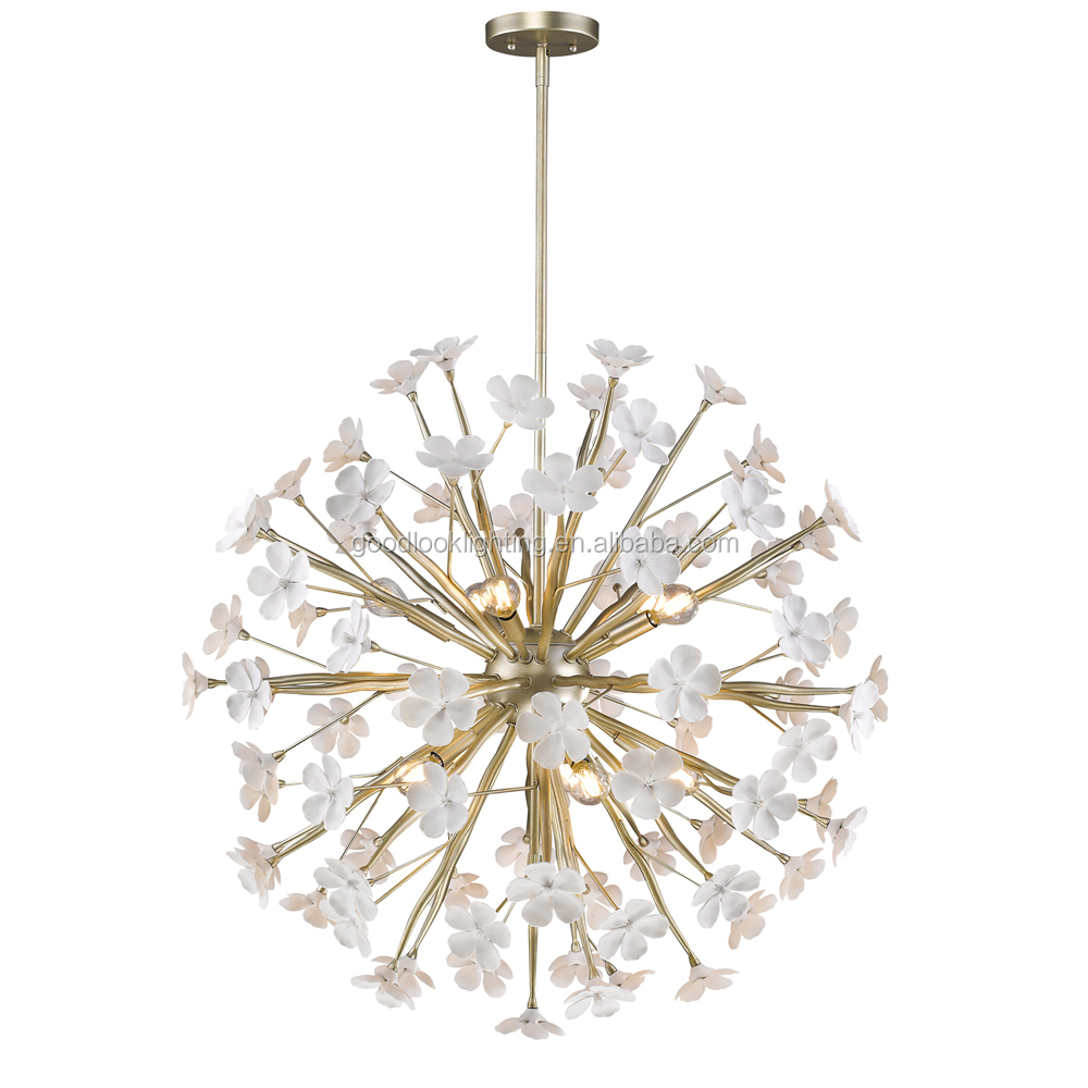 C(UL) & ETL listed fantasy modern ceramic flower accents metal pendant chandelier lighting with white gold /dark iron finish