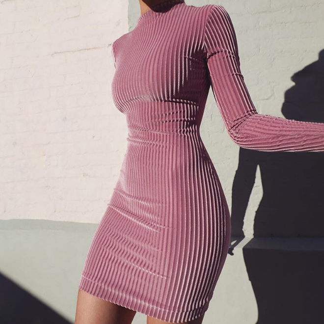 KS3835A 2018 Spring Chimeny Collar Women Pink Velvet Bodycon Dress