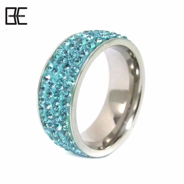 BE Italy Custom Jewelry Ladies Finger Silver Blue Crystal Diamond Titanium Magnetic Germanium Ring For Wholesale