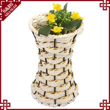 Cheap white & gold paper rope handcraft mini decorate baskets for indian wedding