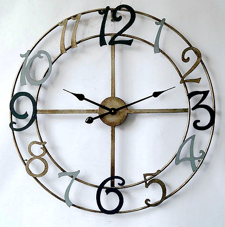 big round quartz analog type metal wall clock with antique looks