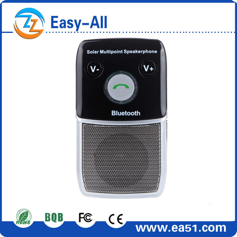 New Arrival!!! Multipoint Solar powered car Speakerphone,Bluetooth Hands Free Car Kit suitable for various cars