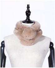 Female Winter Colorful Purity Genuine Rex Rabbit Fur Ball Scarf