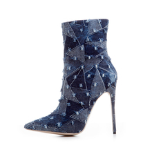 Women Fashion Pointed Toe Denim Ultra High Heel Ankle Boots Blue Jean Booties Pointed Toe Stiletto Heel Ankle Denim Boots