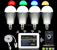 Milight A60 9W e27 led light bulb RGB warm white/cool white with 2700-6500K adjustable cheap price