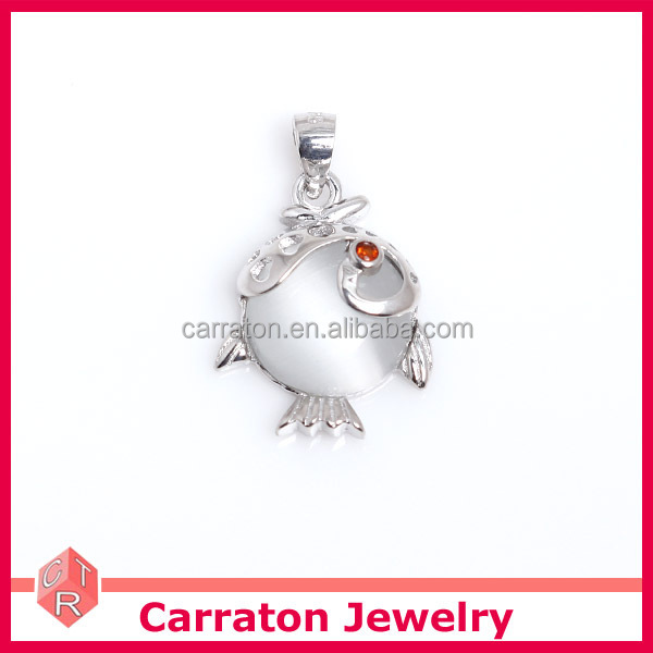 925 sterling silver jewelry lovely cat's eye fish pendant wholesale price