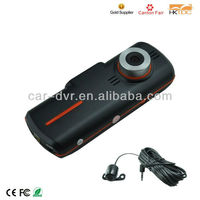 spy camera hd car video recorder with 2.7'' LCD screen, 720P F20 dual camra + GPS dual camera car dvr gps