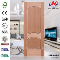 JHK-009-1 Most Popular Russia Cellar Exterior Double Use Sapelli Veneer Wood HDF Molded for Sale Door Skin