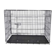 Wholesale dog cages manufacturer two doors folding iron dog crate, metal tray UK market