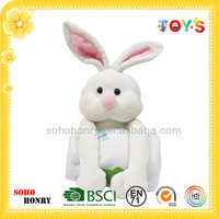 Wholesale plush rabbit toy with baby blanket