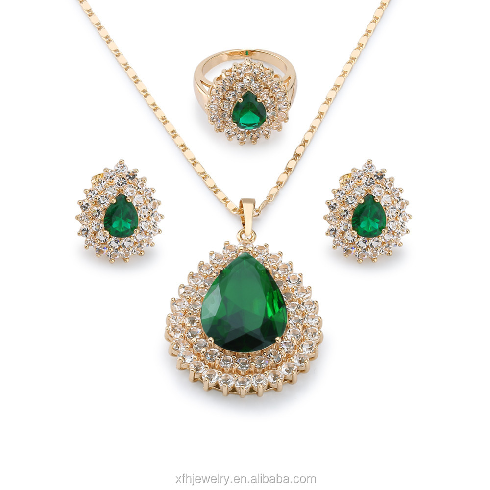 emerald stone zircon jewelry set latest design dubai