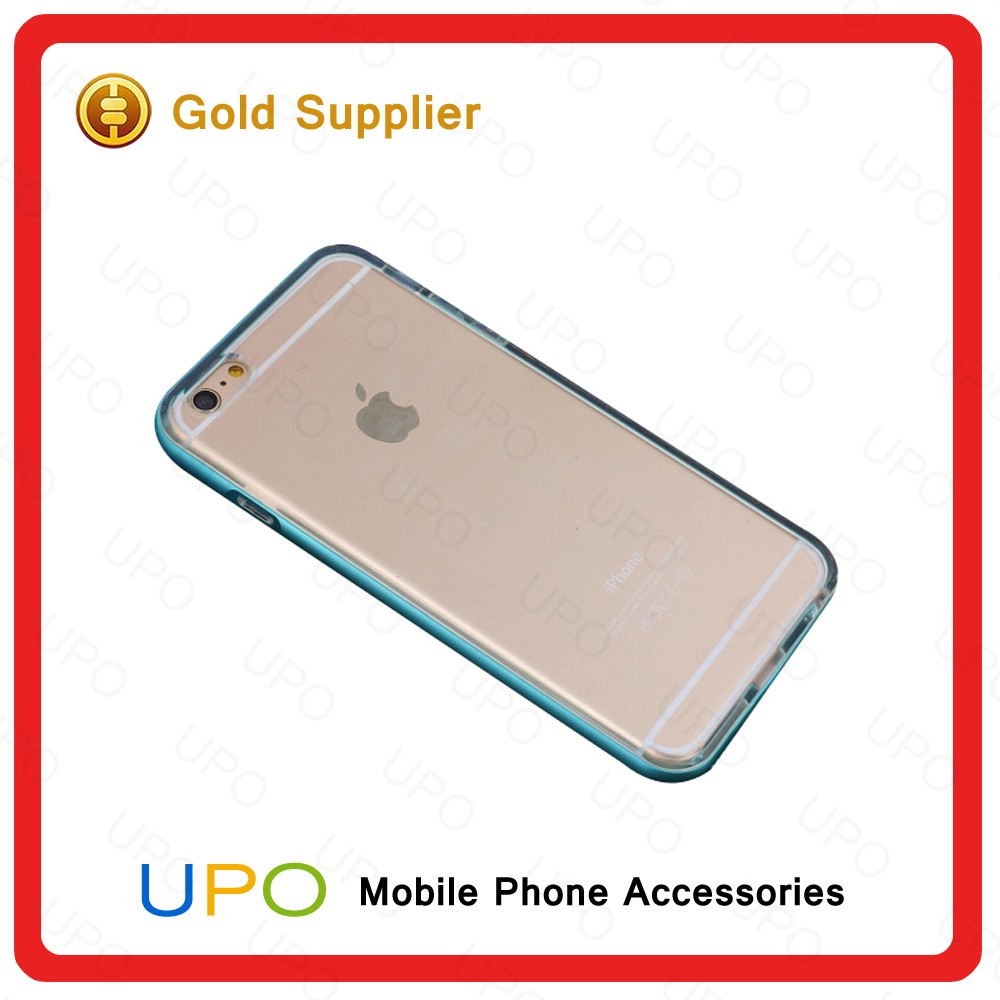 [UPO] Ultra Thin Fashion Aluminum Metal Bumper + TPU Clear Soft Case Cell Phone Cover for iPhone 6s