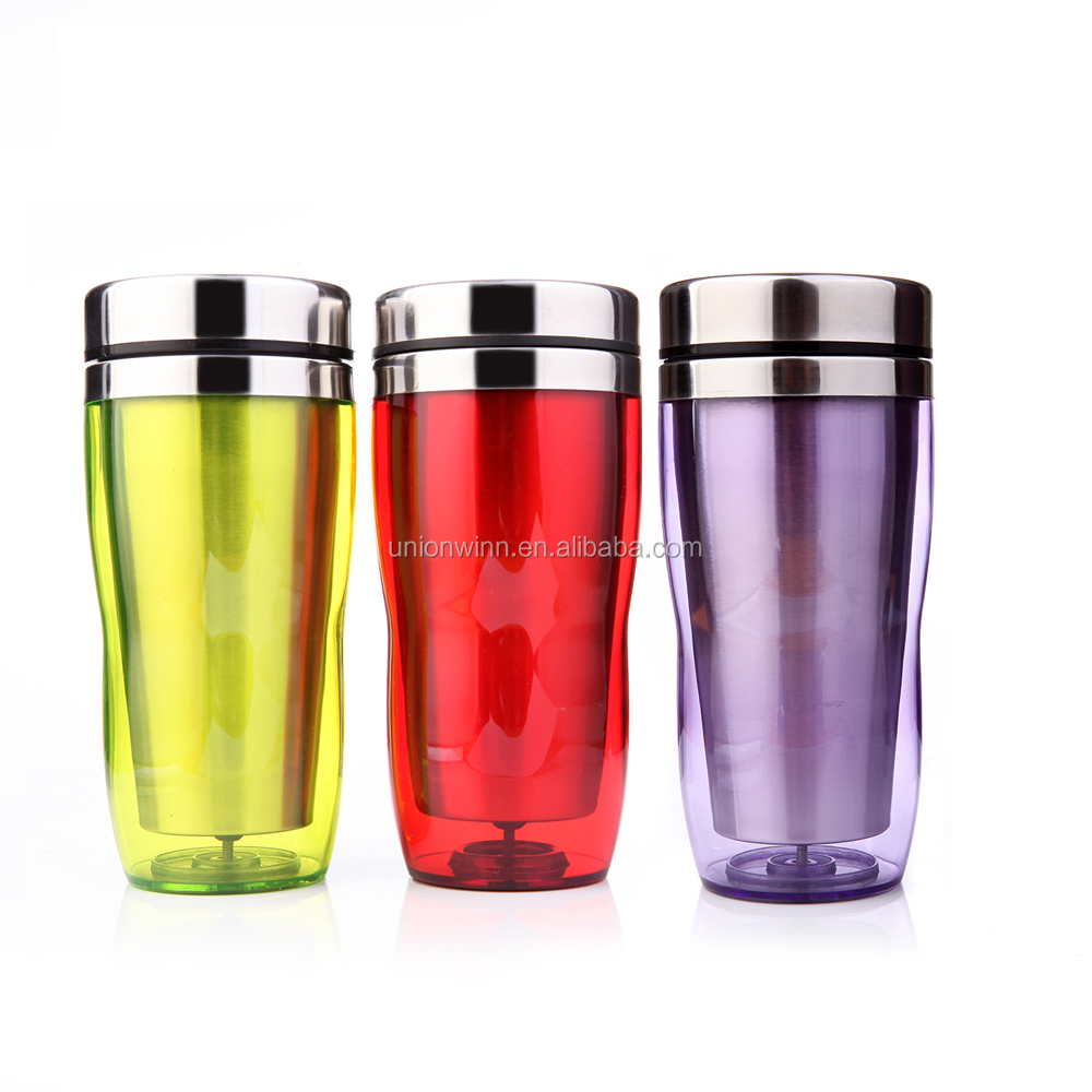new style colorful foodgrade plastic BPA free m&m mighty tea/coffee mug